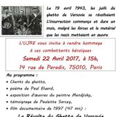 Célébration de l'insurrection du GHETTO de VARSOVIE : Samedi 22 avril 2017 à Paris [UJRE]