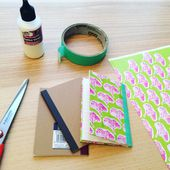 DIY - Recouvrir un carnet avec ma planche de motifs Ginkgo. - Mademoiselle Kati O.