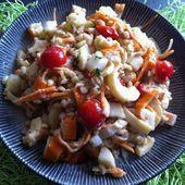 Salade aux coeurs de palmiers, blé, surimi et petits légumes - La cuisine de Fanie