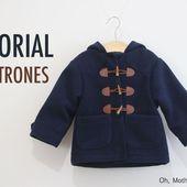 Manteau pour bébé style Duffle Coat - Laine-et-Chiffons