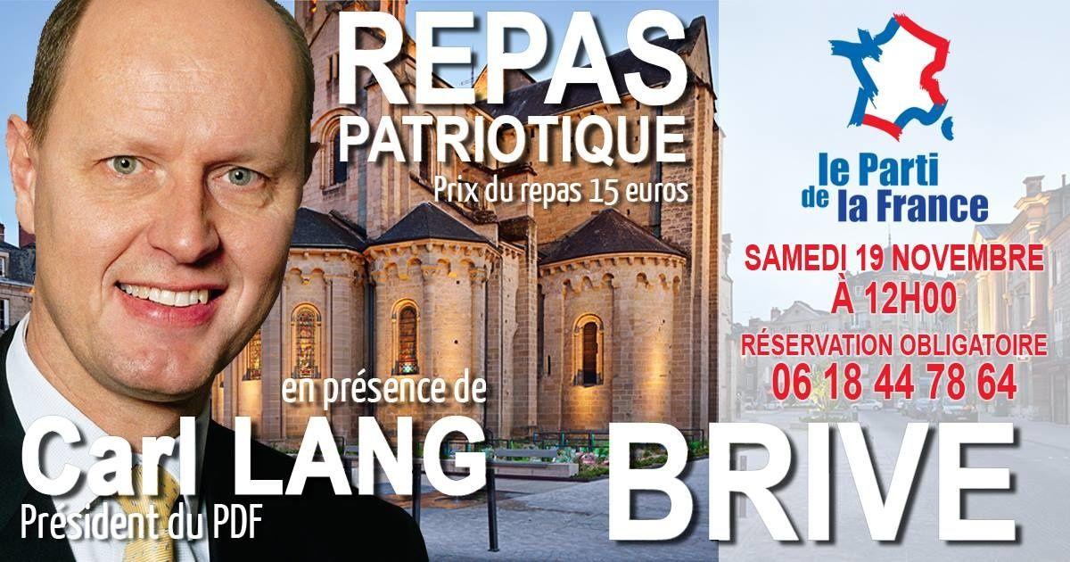Repas patriotique avec Carl Lang à Brive (19) samedi 19 novembre