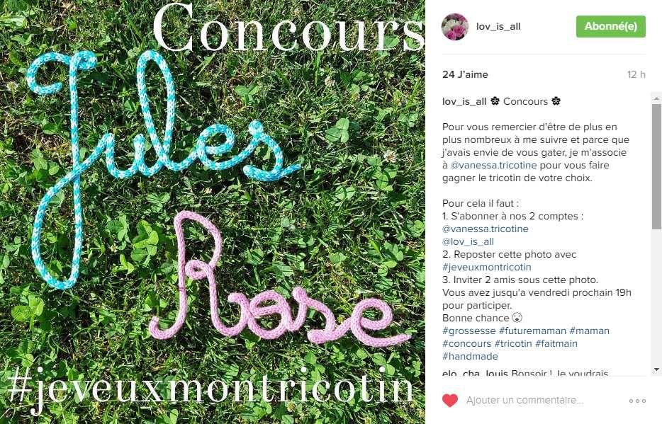 Nouveau concours sur Instagram