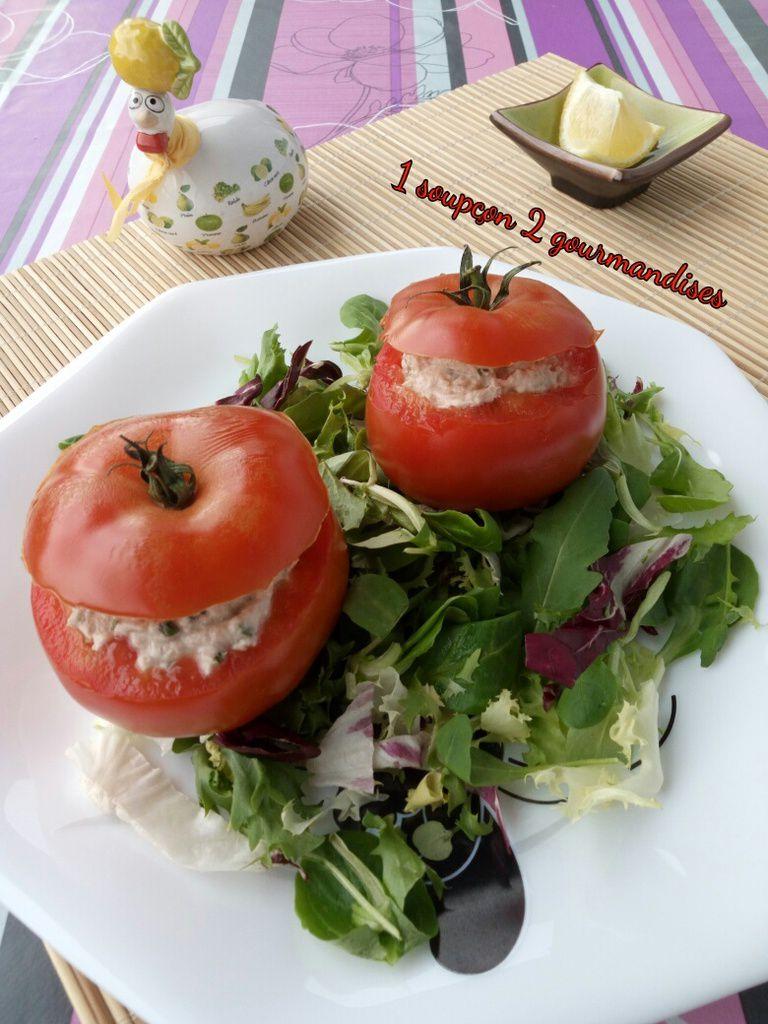 Tomates farcies aux Rillettes de Thon, sans cuisson
