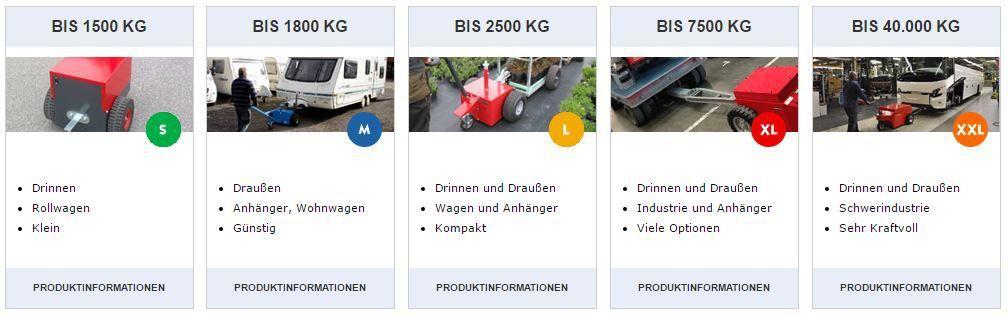 Muti-Mover : tracteurs de manutention électriques jusqu'à 1.500 Kg, jusqu'à 1.800 Kg, jusqu'à 2.500 Kg, jusqu'à 7.500 Kg, jusqu'à 40.000 Kg