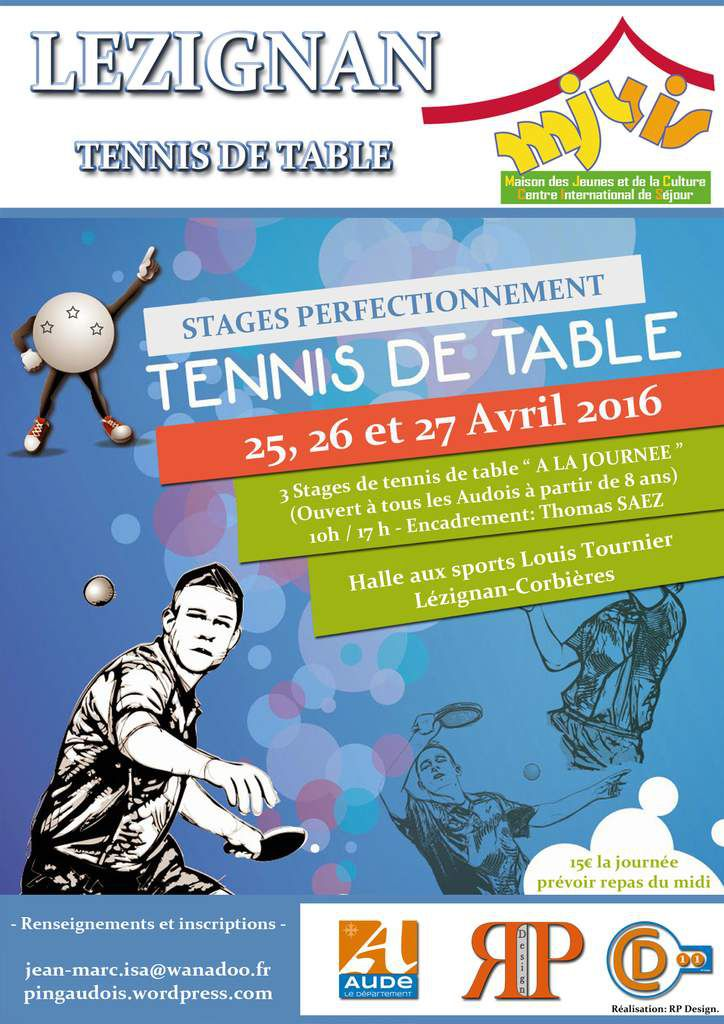 Stages l zignan vacances de p ques - Comite departemental de tennis de table ...