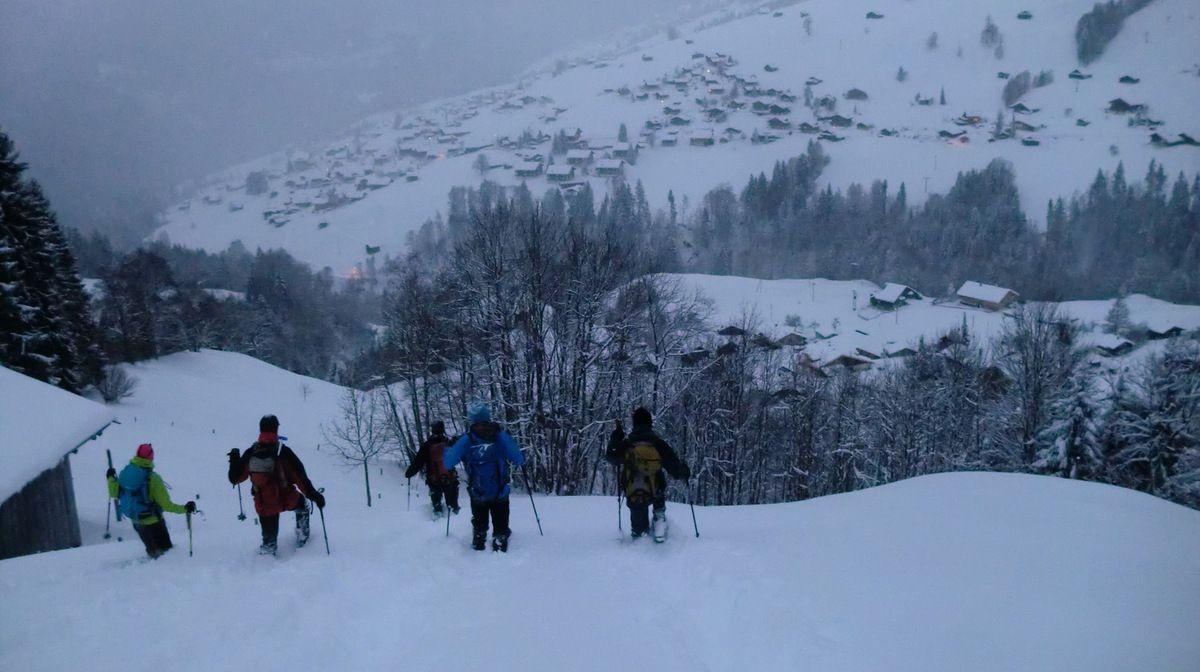 Nous prenons un immense plaisir à dévaler ces pâturages dans plus de 50 cm de neige fraîche.