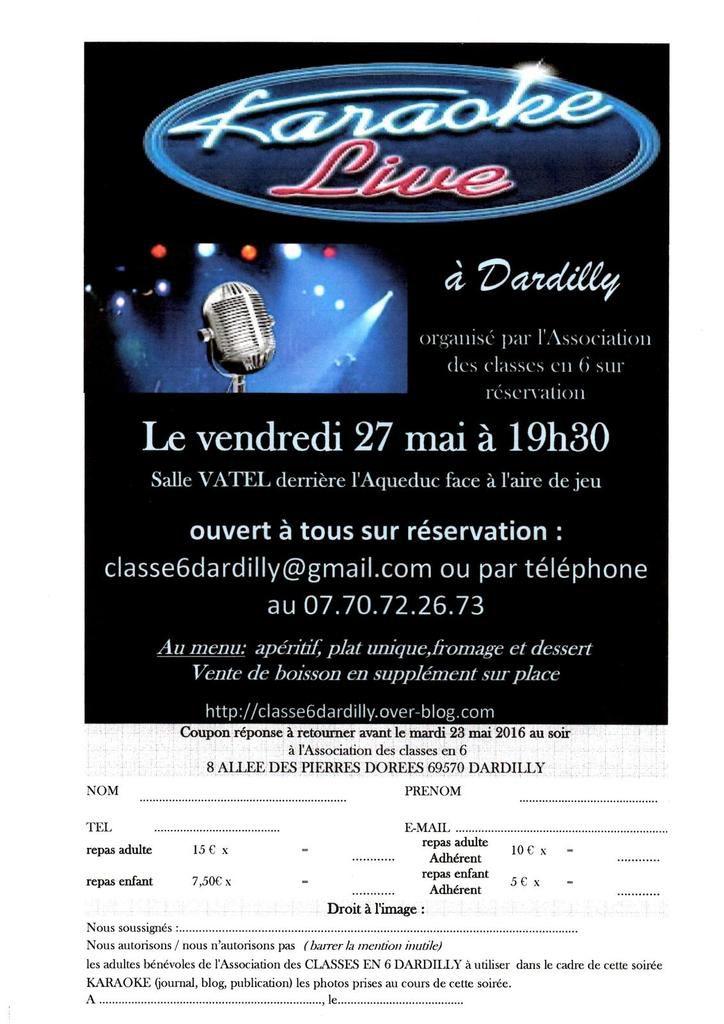 SOIREE KARAOKE Vendredi 27 mai-16 à 19h30 Salle VATEL (derrière l'Aqueduc faire à l'aire de jeu) ouvert à tous