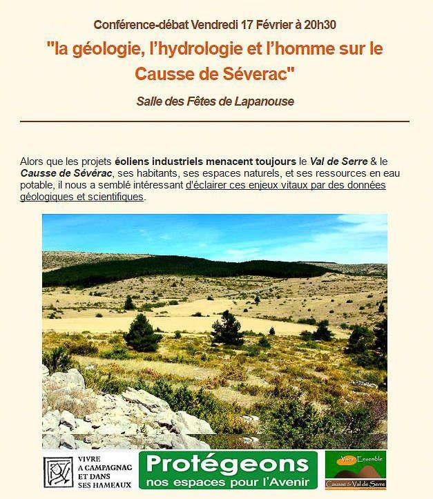Conférence-débat Vendredi 17 Février à 20h30 :  &quot&#x3B;la géologie, l'hydrologie et l'homme sur le Causse de Séverac&quot&#x3B;