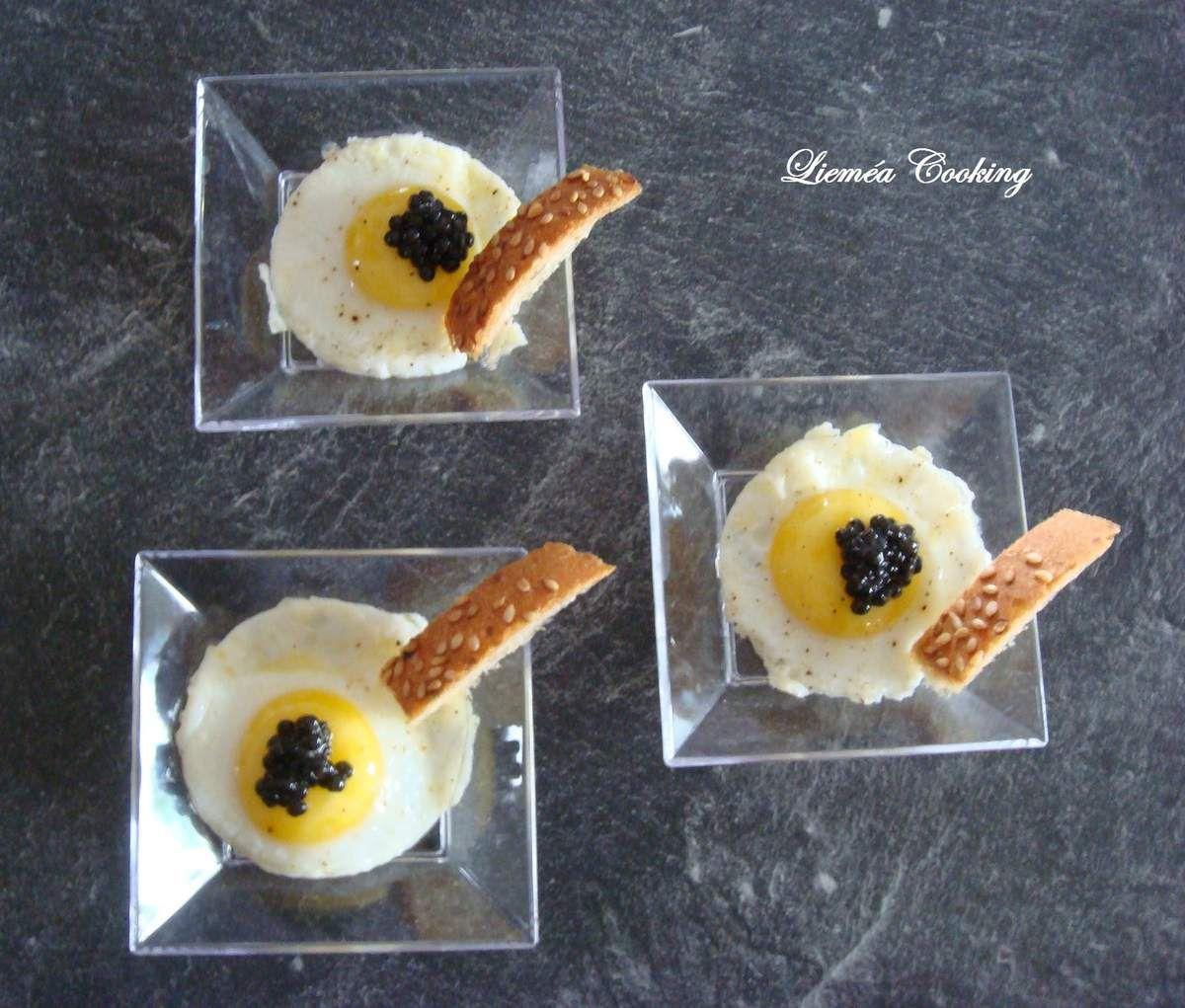 Oeuf de caille au caviar d'esturgeon blanc