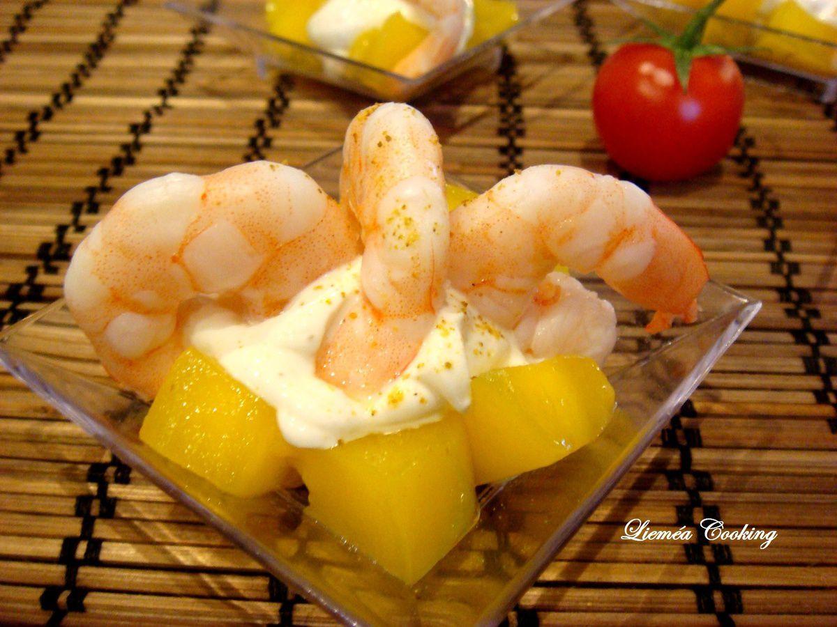 Crevettes au fromage frais mangue et curry