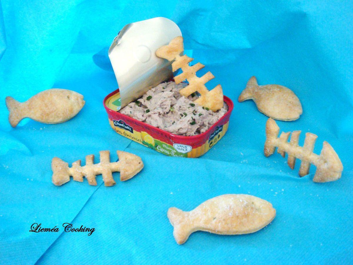 Sablés poissons au Boursin et rillette de sardines citronnée… Poisson d'Avril !