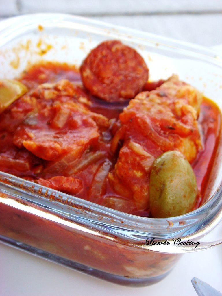 Sauté de veau au chorizo et pâtes crêtes de coq Pasta Délices