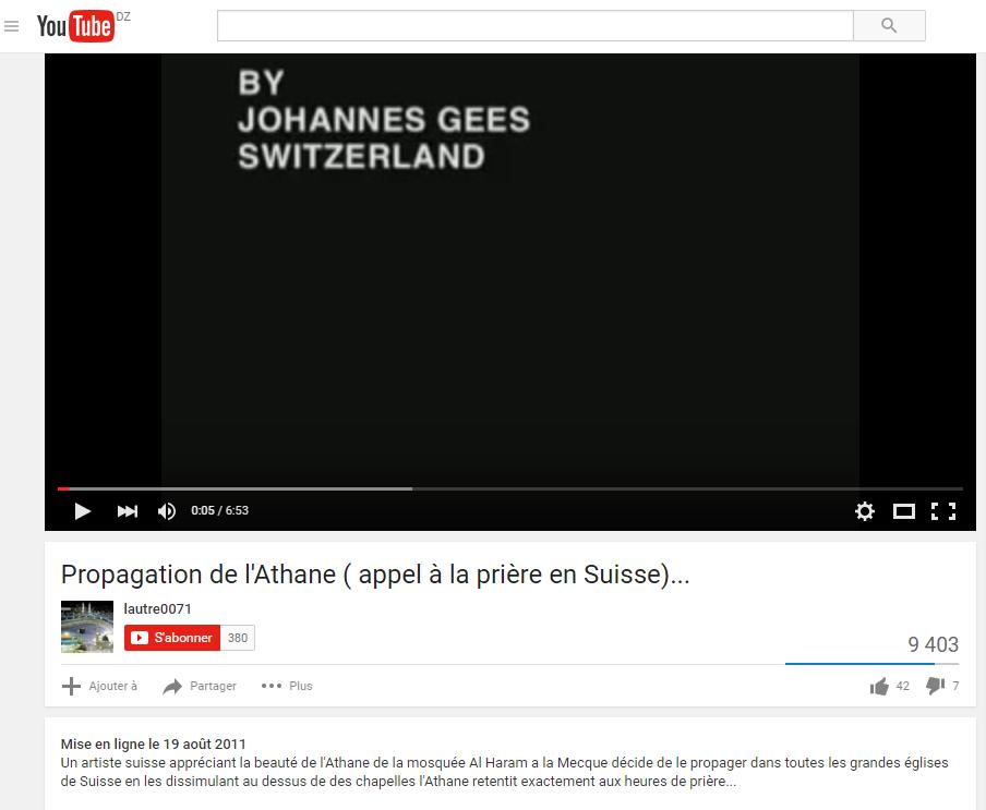 L'Adhan retentit en Suisse.L'Adhan est l'appel 5 fois par jour à la prière pour les Musulmans:https://www.youtube.com/watch?v=owQosIJmxsY