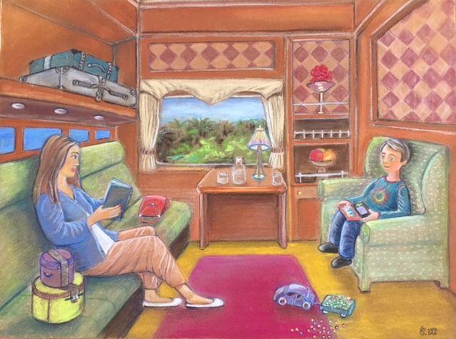 L'Orient Express. Dessin aux Pastels Secs (Sennelier et crayons Stabillo) sur papier Pastelcard, 30x40 cm.