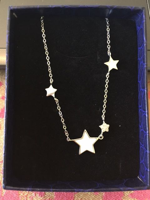 Collier SWEETIE- 925 Pur Argent Collier, Email Etoiles, Platine, 400mm