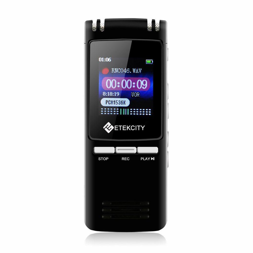 Etekcity® Dictaphone Numérique Ultra-Mince, Rechargeable, Activation Vocale, Connexion PC, Lecteur MP3, Mémoire Interne 8Go, Enregistreur Portable, Noir