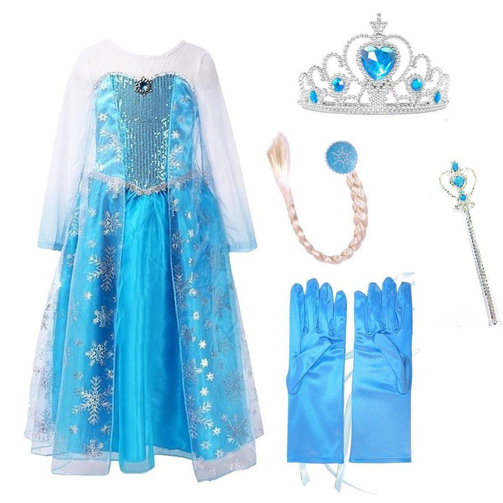 uraqt la reine des neiges elsa costume et accessoires gants couronne baguette tresse robe longue. Black Bedroom Furniture Sets. Home Design Ideas