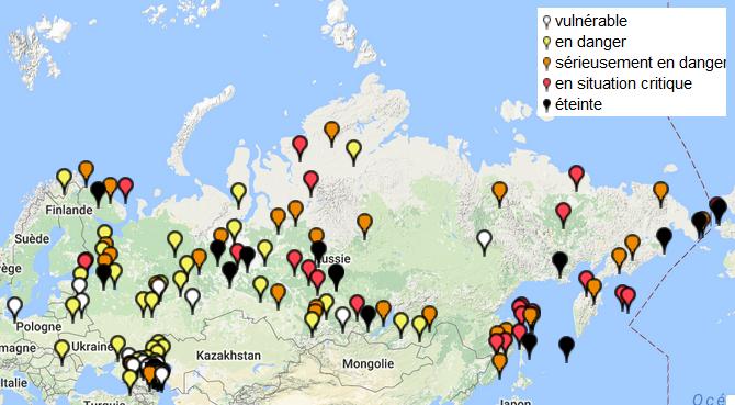 Carte des langues en danger en Russie. (Vous pouvez consulter la carte du monde des langues en danger sur le site de l'UNESCO.)