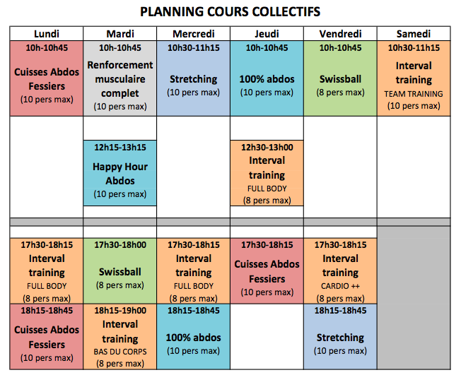 4 - Horaires & planning cours co