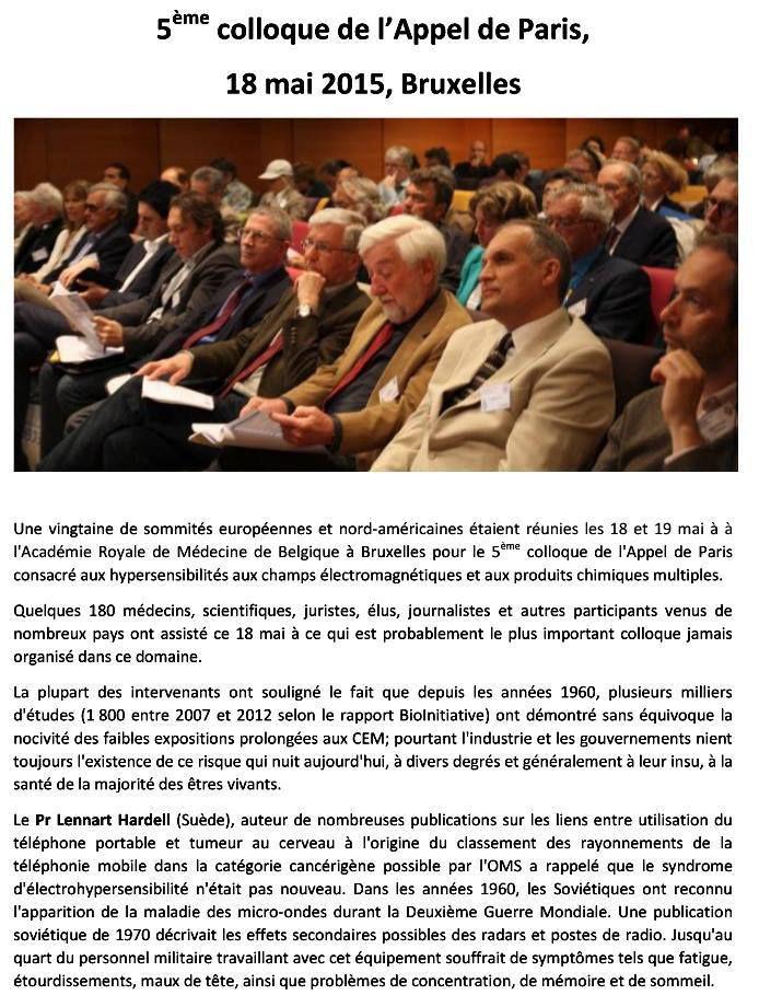 Reconnaitre les hypersensibilités chimiques et électromagnétiques : 5ème colloque de l'Appel de Paris, 18 mai 2015