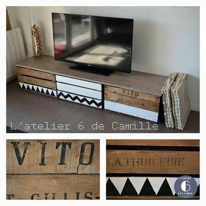 meuble tv caisse pomme l 39 atelier 6 de camille. Black Bedroom Furniture Sets. Home Design Ideas