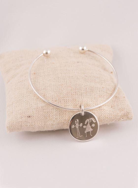 Bracelet Jonc Fin Argent Esclave & Médaille Argent Personnalisable