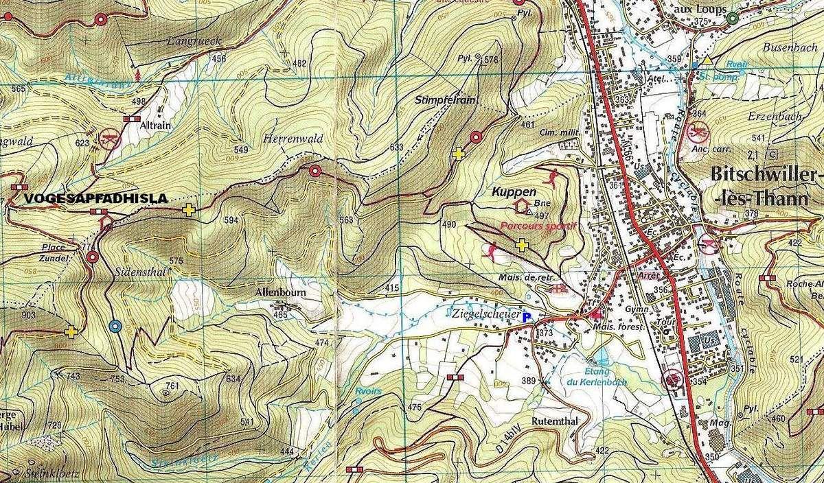 Extrait de la carte de randonnée (carte topographique TOP 25) IGN & Club Vosgien 3620 ET Thann Masevaux.