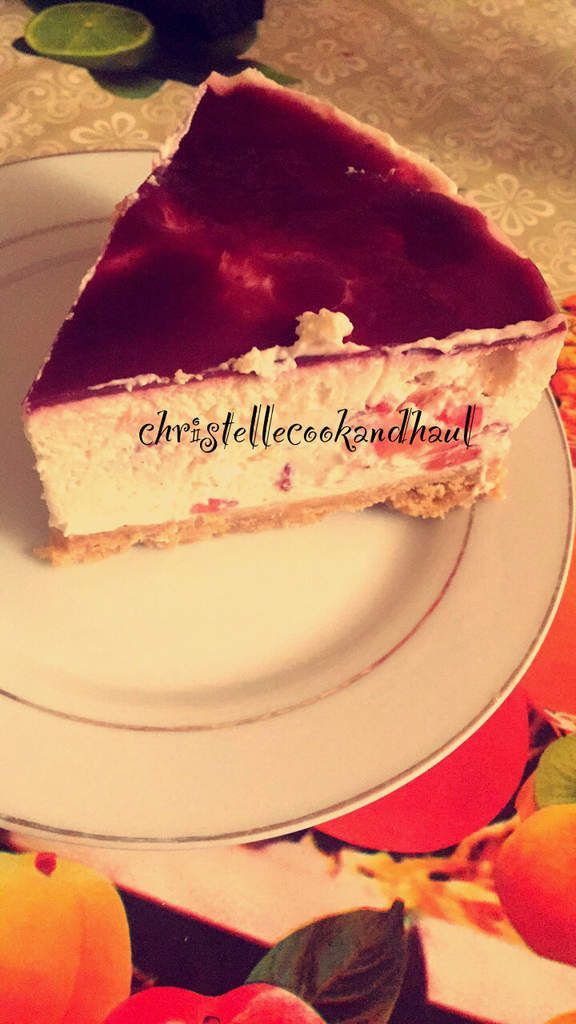 Cheesecake vanille fraises coulis framboise