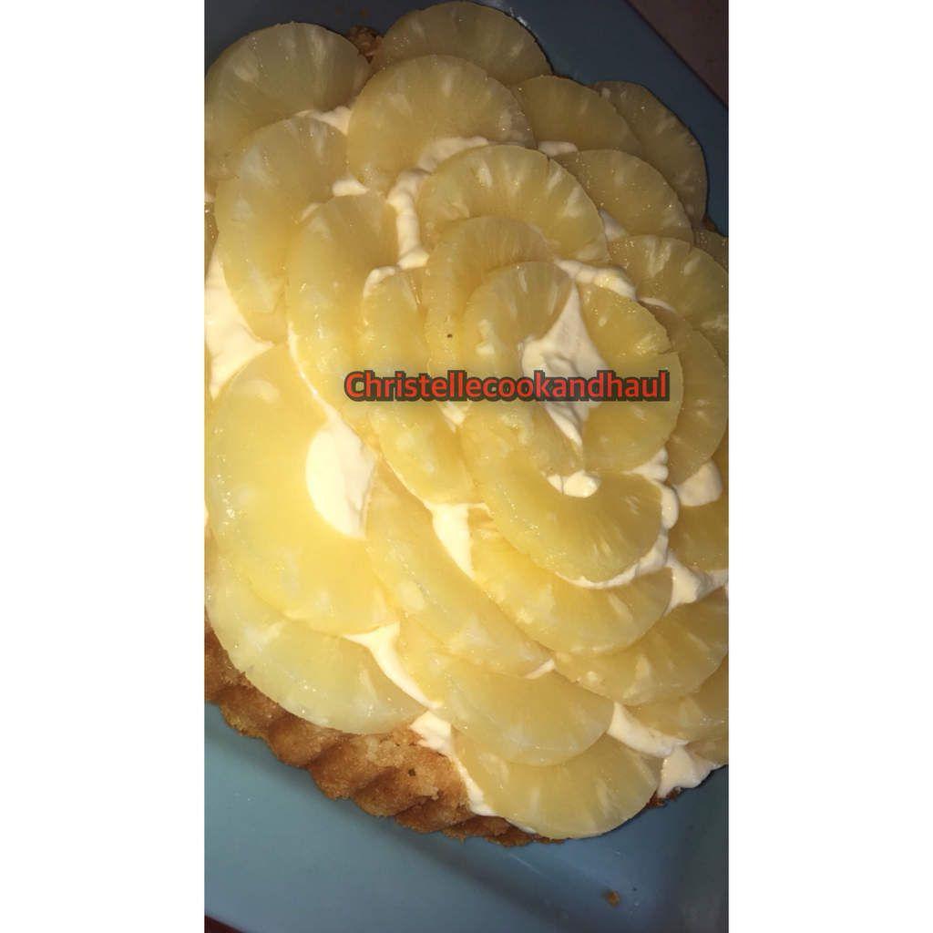Tarte renversée à la crème diplomate(sans gélatine ni agar agar) et ananas