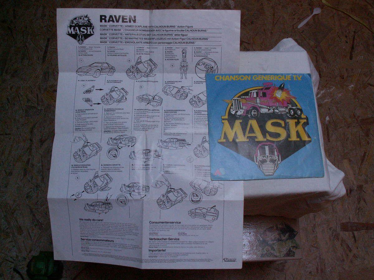 45 tours du générique de mask et la notice original de raven
