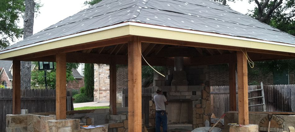 The latest innovative idea of roofing installation with for Outdoor kitchen roof structures