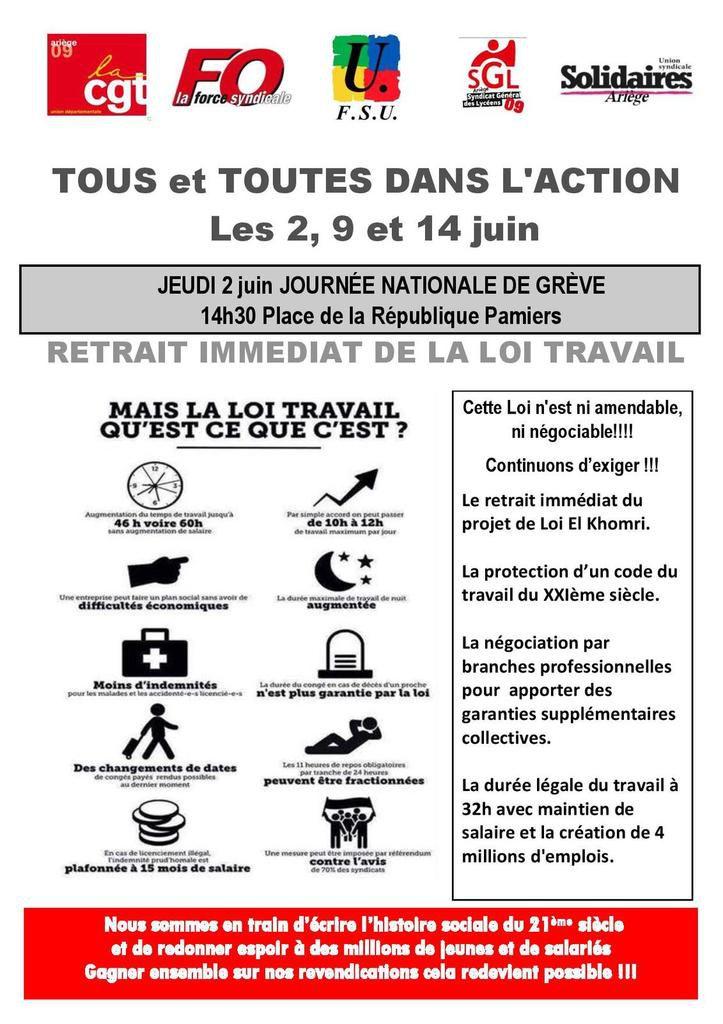 Appel unitaire en Ariège 2,9 et 14 juin