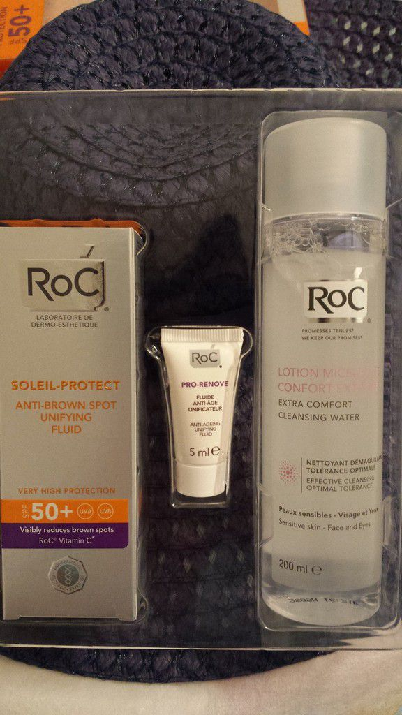 Lotion micellaire Roc Confort extrême 200ml - Renove Fluide anti-âge Roc unificateur 5ml - Soleil protect Fluide anti taches brunes unificateur SPF50+