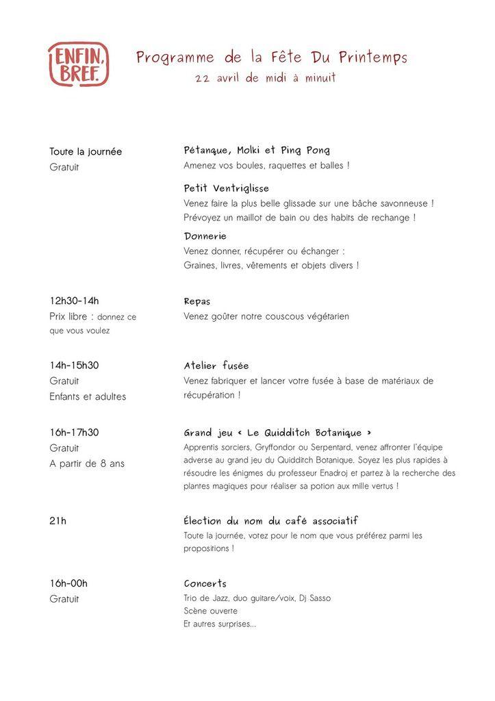 Programme de la fête du printemps (22 avril) et carte des boissons !