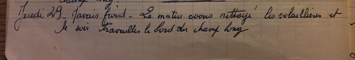 Jeudi 29 novembre 1956 - nettoyage