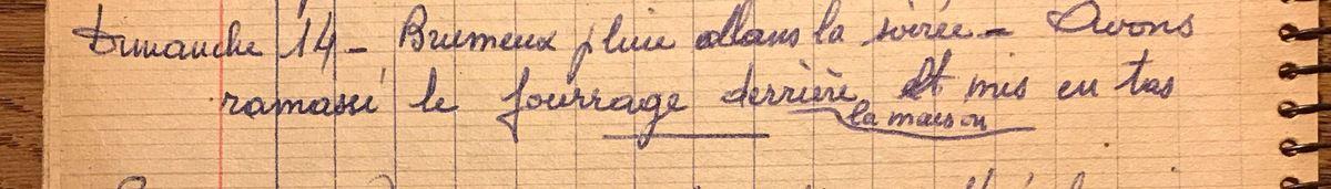 Dimanche 14 juillet 1957 - Mettre en tas le fourrage