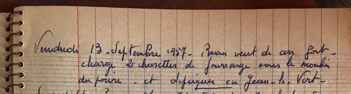 Vendredi 13 septembre 1957 - Dépiquer à Jean le Vert