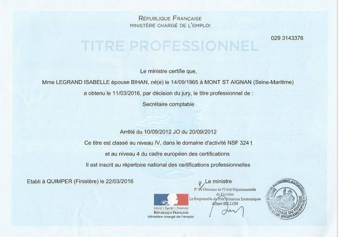 Mes Formations Secrtaire Comptable Isabelle Bihan