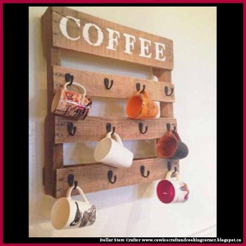 Turn A Pallet Into A Coffee And Tea Cup Wall Holder Organizer