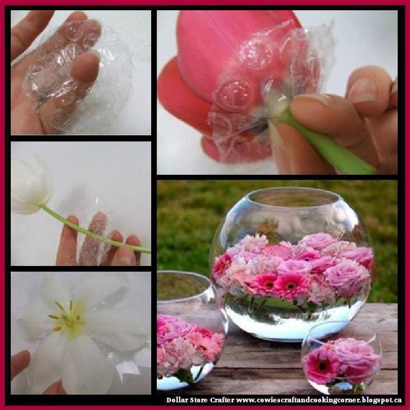 Turn Bubble Wrap Into Flower Floats