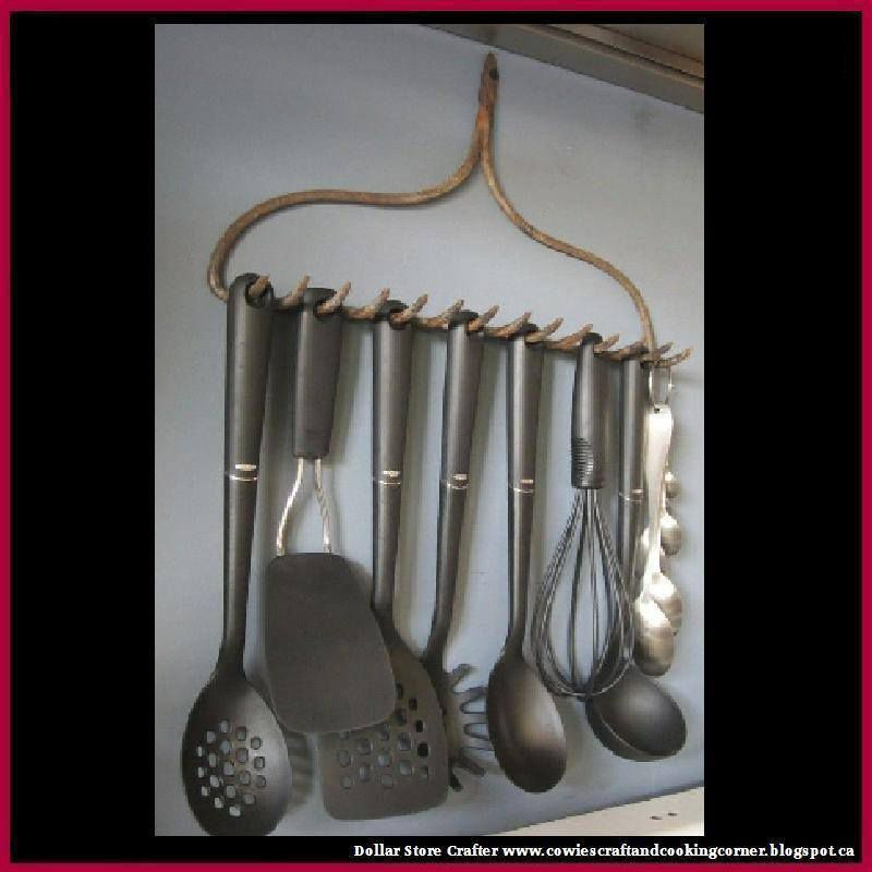 Turn An Old Rake Into A Cooking Utensil Holder