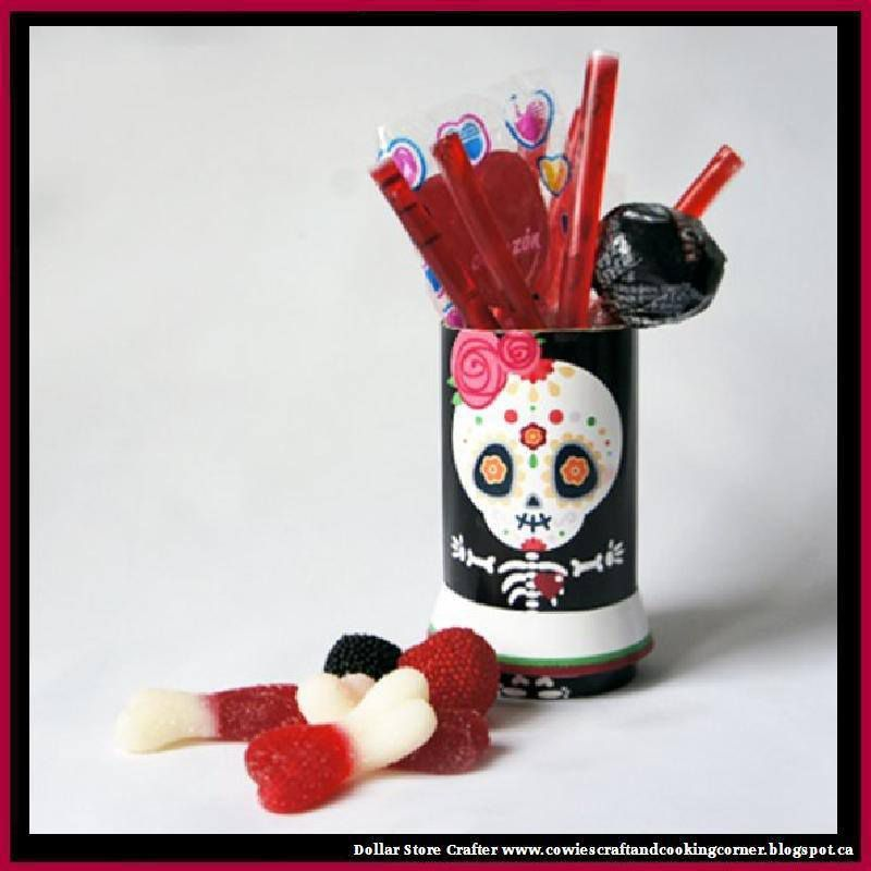 Turn Empty Toilet Paper Rolls Into Sugar Skull Halloween Candy Holders (FREE PRINTABLES)