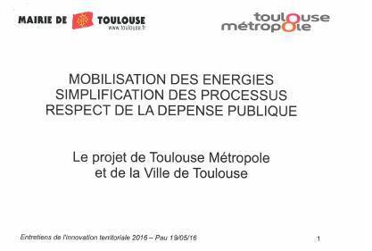 Présentation  du plan de modernisation des services publics à Toulouse métropole