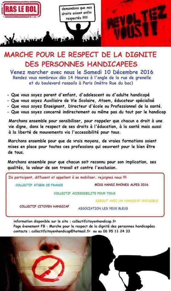 LES ATSEM INVITEES A LA MARCHE BLANCHE POUR LE RESPECT DE LA DIGNITE DES PERSONNES HANDICAPEES