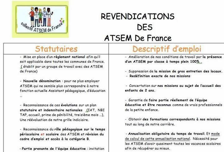 REVENDICATIONS DES ATSEM DE FRANCE
