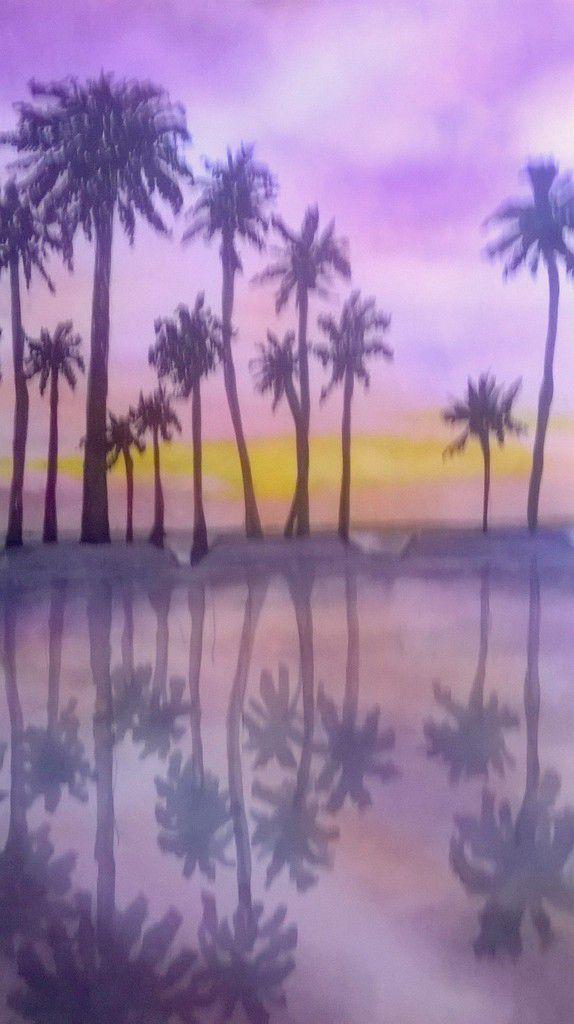 Palmiers au crépuscule .... aquarelle et encre..&#x3B; sur papier 30/40  le 17 juillet 2016