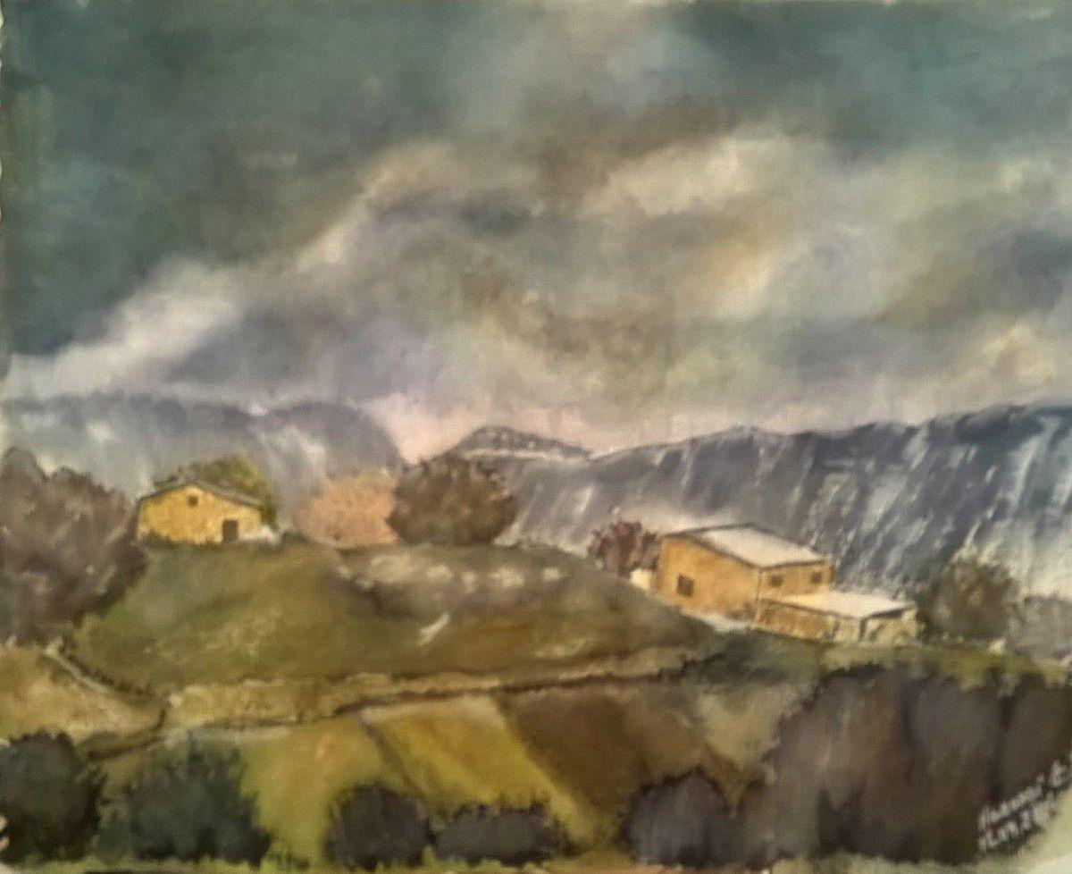Orage d'automne... aquarelle sur papier pur chiffon du Moulin de Larroque .. 42/54