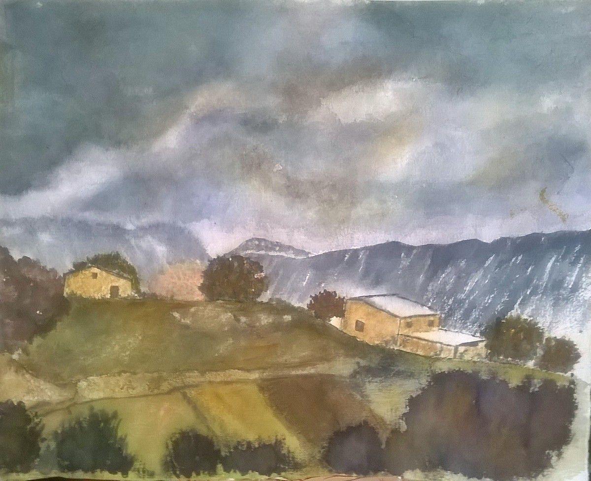 Orage d'automne... aquarelle sur papier pur chiffon en provenance du  Moulin de Larroque...