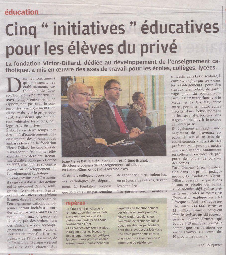 Axes de travail pour l'enseignement catholique en Loir-et-Cher