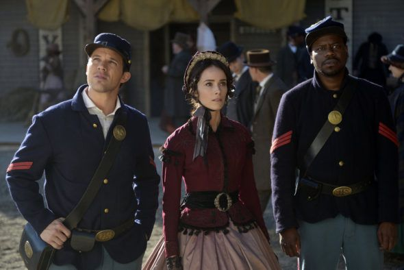 From left to right: Matt Lanter (Wyatt Logan), Abigail Spencer (Lucy Preston), Malcolm Barret (Rufus Carlin) wearing costumes dating from Abraham Lincoln's assassination day (April, 14 1865) - episode 2